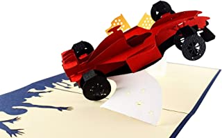 iGifts And Card Formula One 1 Racer 3D pop up greeting card - Car Racing, F1, Checkered Flag, Grand Prix, Half-Fold, Happy Birthday, Congratulations, Fun, Just Because, Friendship, Thank You, Miss You