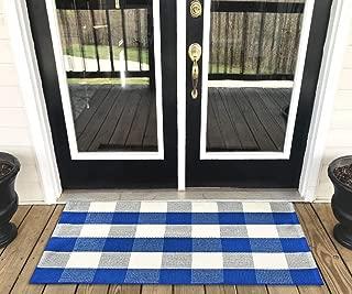 Levinis Cotton Farmhouse Blue Buffalo Plaid Rugs- Washable Buffalo Check Area Rugs for Kitchen/Bathroom/Laundry Room/Entry Way, 23.6'' x 51.2''