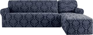 CHUN YI 2 Pieces 2 Seats L Shaped Elegant Jacquard Polyester Sofa Cover Stretch Fabric L-Shaped Sectional Couch Covers Dust-Proof Sofa Slipcover Furniture Protector (Right Chaise, Grayish Blue)