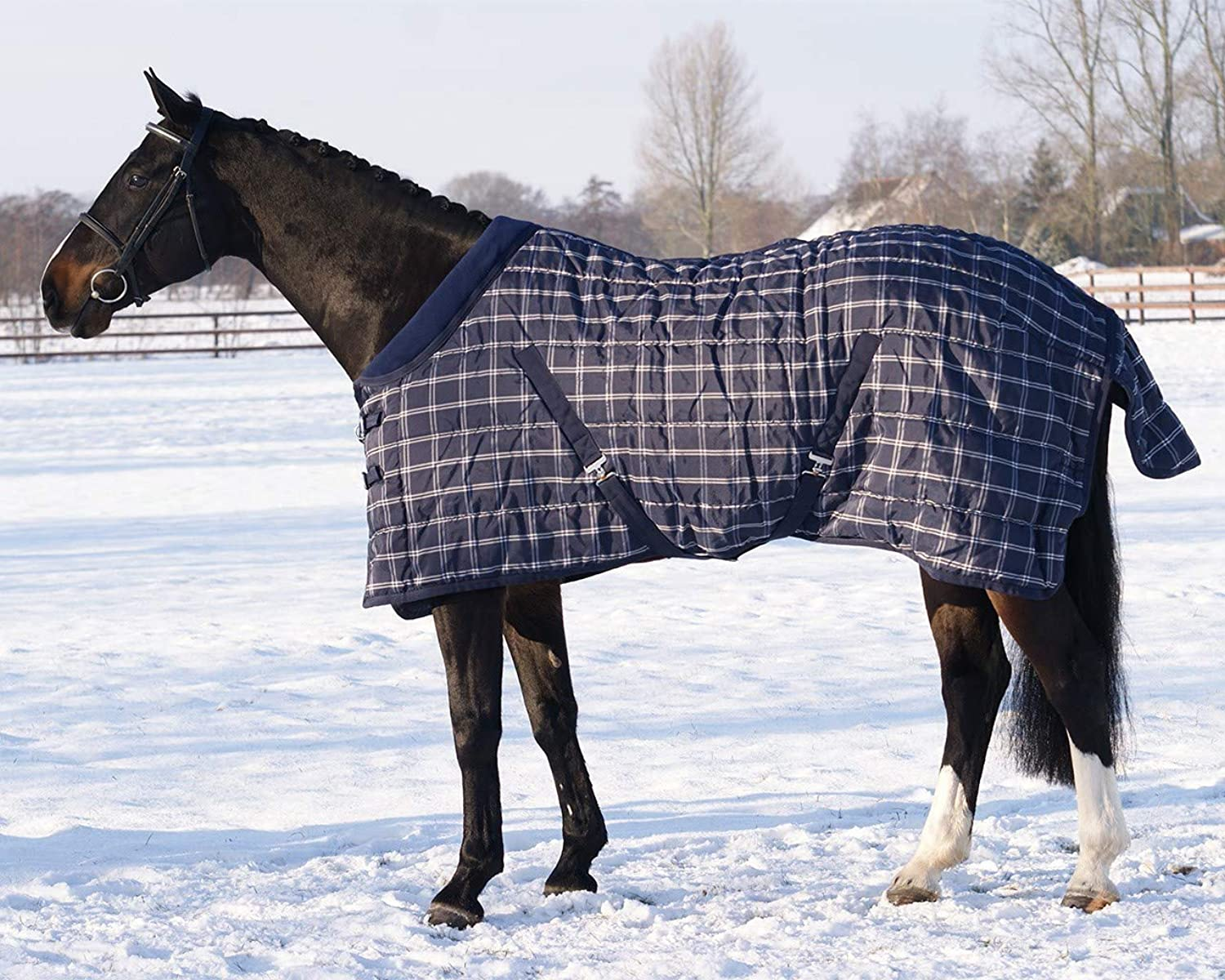 QHP Stable rug navy Check 150gr