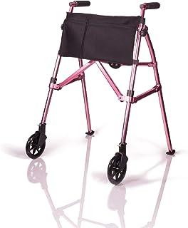 Stander EZ Fold-N-Go Walker, Lightweight Folding Mobility Rolling Walker for Seniors and Adults, 6-inch Wheels, Ski Glide...