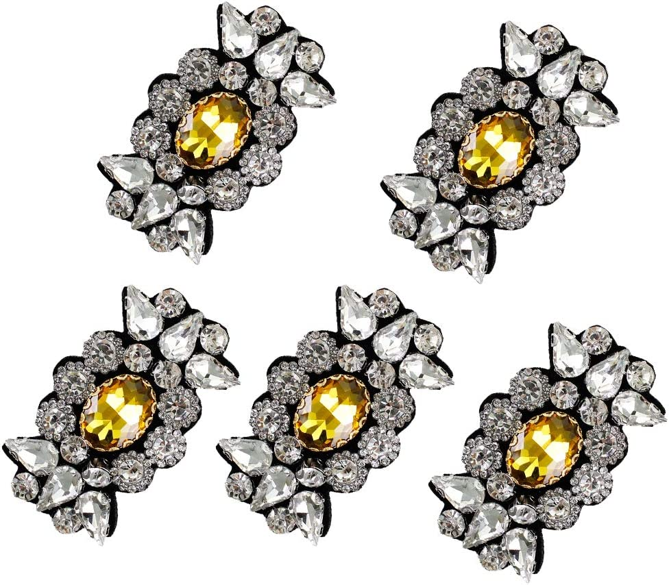 1pc Crown 1459 EMDOMO 1set Rhinestone Crown Butterfly Bead Patch Flower Birds Sequin Crystal Applique Clothing Sewing on Shoes Bag Patch DIY Apparel TH1457