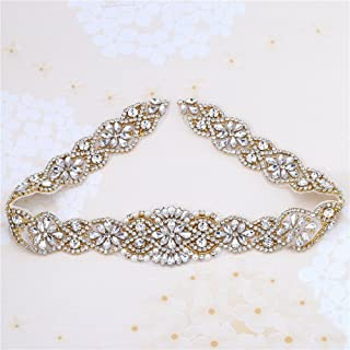 XINFANGXIU Gold Applique Wedding Bridal Sash Applique Crystal Belt Rhinestone Applique Pearls Beaded Sewn Iron on for Formal Gown Dress (Gold)