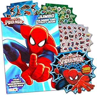 Marvel Spiderman Coloring Book Bundle with Over 300 Bonus Spiderman Stickers