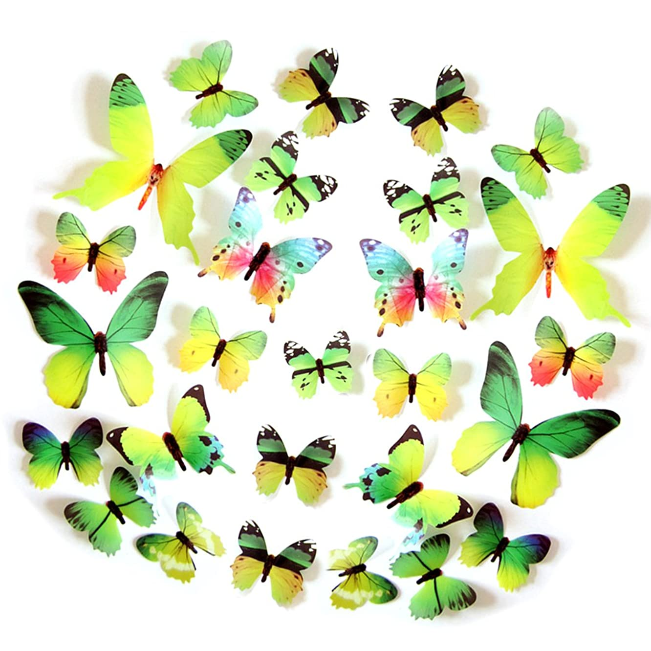 FLY SPRAY 24pcs Vivid Green Butterfly Mural Decor Removable Wall Stickers with Adhesive Decals Nursery Decoration 3D Crafts