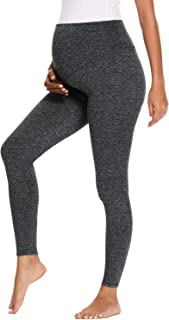 Glampunch Women's Maternity Yoga Pants Workout Active Stretchy Comfy Capris Leggings with Pockets (Heather Grey-Long Lengt...
