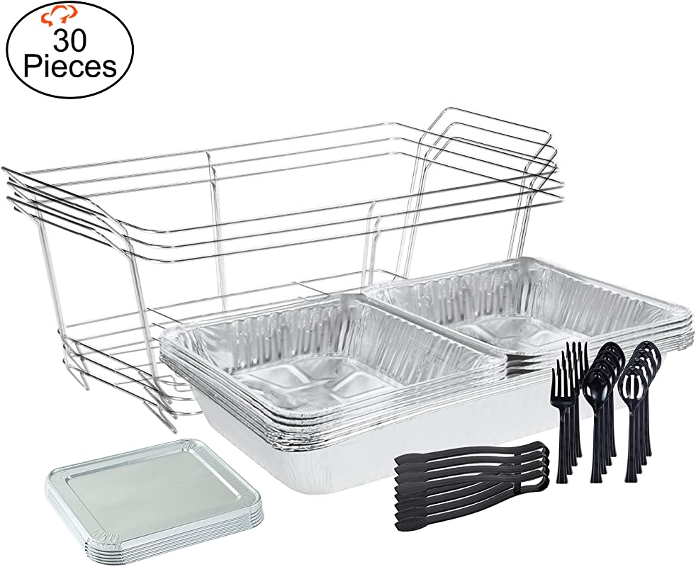 Tiger Chef 30 Piece Catering Set Serving Dishes For Parties Includes Chafer Pans Set And Disposable Serving Utensils Spoons And Tongs For All Parties Events Including Birthday Holiday Weddings