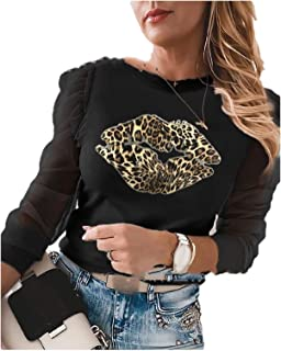 Fiere Women Blouse Christmas Trendy Long-Sleeve Round Neck Floral Print Tees