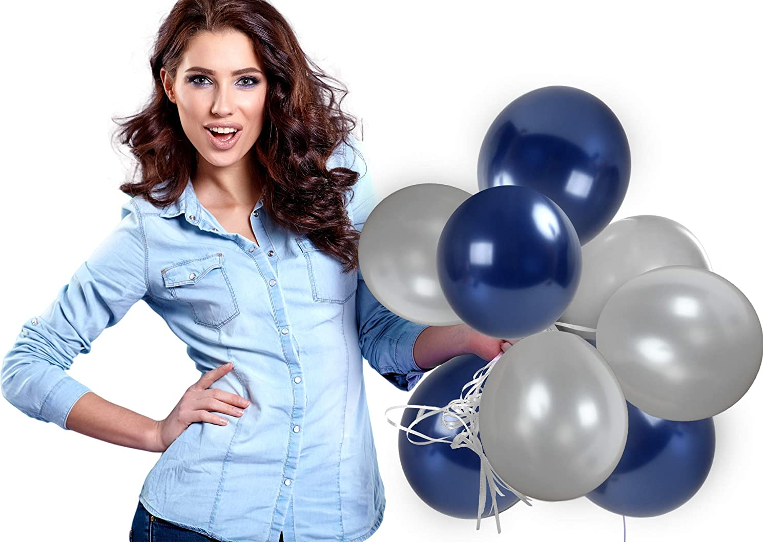 Treasures Gifted 4th of July Party Kit Silver and Navy Blue Metallic Balloons Pack of 72 and 65 Yards Curling Ribbons for Birthday Graduation Bachelorette Bridal Shower Party Supplies