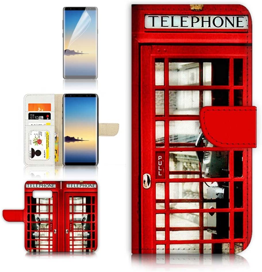 (for Samsung S10+ / Galaxy S10 Plus) Flip Wallet Case Cover & Screen Protector Bundle - A0096 British Red Phone Booth