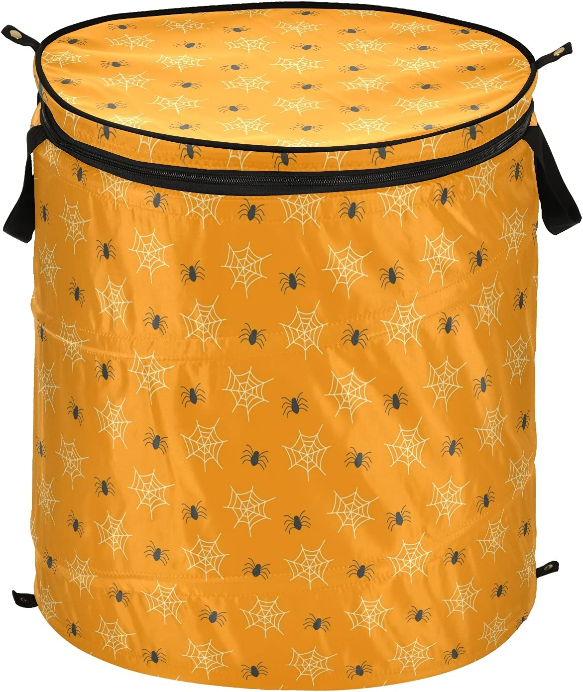 Happy Halloween Spider Web Pop Bombing new work Up Max 48% OFF Lid with Foldab Hamper Laundry
