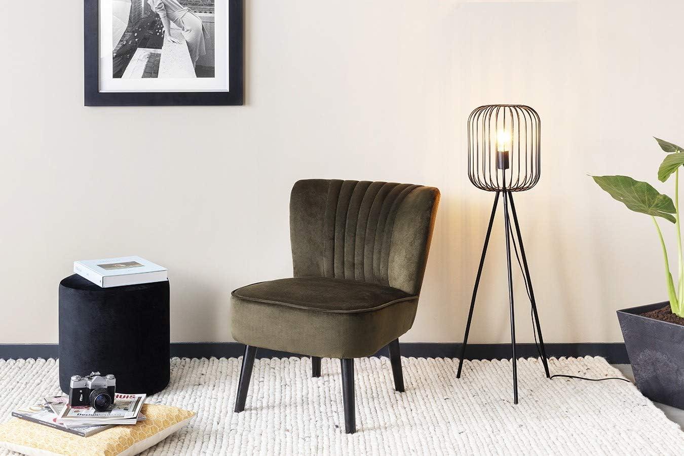 LIFA LIVING 60 cm Moderne Metall Wohnzimmerlampe E27 mit Ständer und Schirm, Schwarze Stehlampe im Industrie Design Höhe 60 Cm (Schwarz)