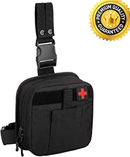 QTOPIA Tactical Drop Leg EMT Medical Pouch,IFAK First Aid Kit Utility Tool Pouch Fanny Thigh Pack 1000D Nylon for Workplace Outdoors