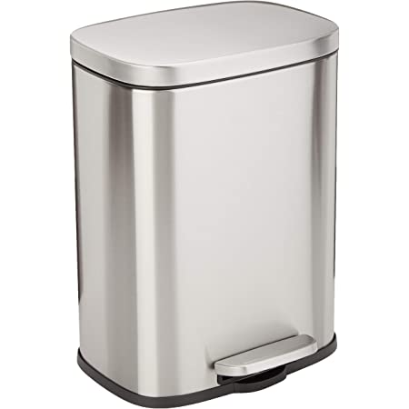 Amazon Basics 12 Liter / 3.1 Gallon Soft-Close Trash Can with Foot Pedal - Stainless Steel, Satin Nickel Finish