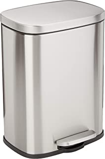 AmazonBasics Rectangle Soft-Close Trash Can - 12L, Satin