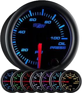 GlowShift Black 7 Color 100 PSI Oil Pressure Gauge Kit - Includes Electronic Sensor - Black Dial - Clear Lens - for Car & Truck - 2-1/16