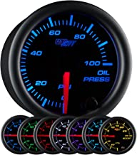 GlowShift Black 7 Color 100 PSI Oil Pressure Gauge Kit - Includes Electronic Sensor - Black Dial - Clear Lens - for Car & ...