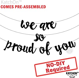 We are so Proud of you Graduation Banner - Assembled - Graduation Party Supplies 2019, Graduation Decoration, Black Banner Sign for Mantle, Congratulations Grad Party Decorations, NO DIY, Felt Banner