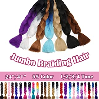 SEGO 24 Inch Jumbo Braiding Hair Kanekalon Jumbo Braid Hair Extensions African Long Jumbo Braids for Box Braids Crochet Hair High Temperature Synthetic Fiber Single Color Dark Brown 3 Bundle
