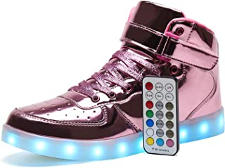 Kids LED Light Up Shoes USB Charging Flashing High-top Sneakers with Remote Control for Boys and Girls