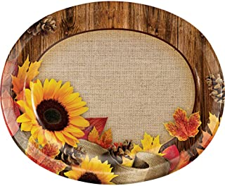 Sunflower Burlap Wood Grain Fall Leaves Autumn Crafts Oval Dinner Platter Harvest Thanksgiving Weddings
