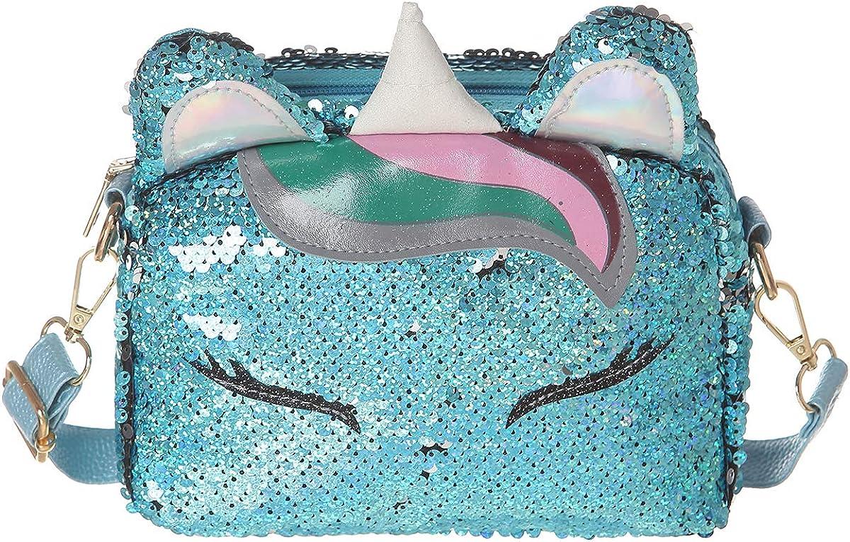 [Alternative dealer] AOCINA Girls Financial sales sale Purse Unicorn Sequin for Bags Girl Crossbody Little