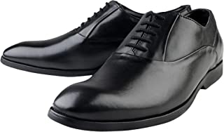 Kanprom Men's Black Genuine Leather Formal Oxford Lace-Up Shoes