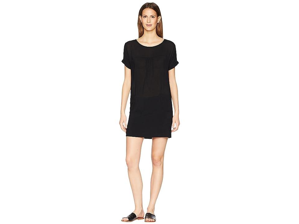 Manila Grace Short Sleeve Boat Neck Dress (Black) Women
