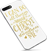 iPhone 8 Case Girls,iPhone 7 Case,Cute Women Christian Inspirational Motivational Bible Verses Quotes Can Do All Things Through Christ Who strengthens Me Soft Clear Side Case for iPhone 8/iPhone 7