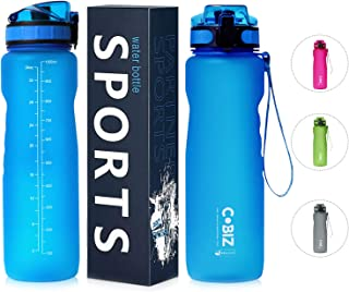Leak Proof Sports Water Bottle with Marker Flip Lid, Large 34OZ/1000ml BPA/Chemical Free Plastic Bicycle Water Bottles for Kids Back to School