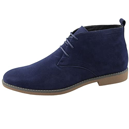 eae60083a7eb37 Mens Suede Desert Boots Winter Casual Lace Up Ankle High Top Classic Shoes  Size