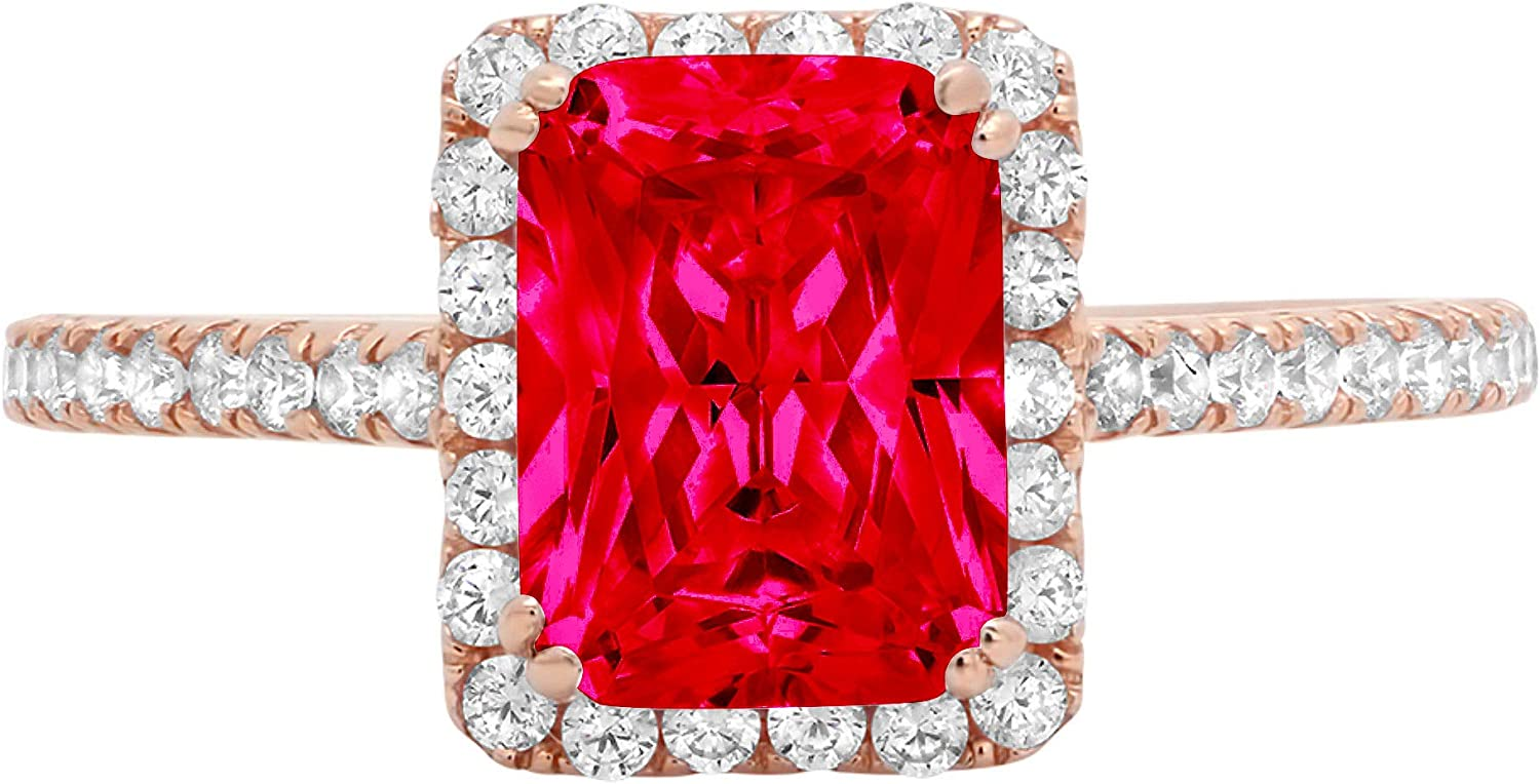 1.92ct Brilliant Emerald Cut Solitaire with Accent Halo Flawless Ideal VVS1 Simulated CZ Red Ruby Engagement Promise Statement Anniversary Bridal Wedding Designer Ring 14k Rose Gold