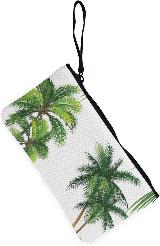 AORRUAM Tropical Coconut Tree Canvas Coin Purse,Canvas Zipper Pencil Cases,Canvas Change Purse Pouch Mini Wallet Coin Bag
