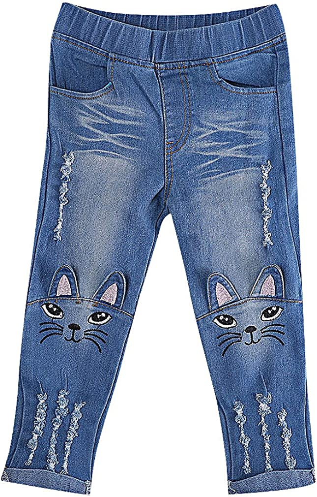 Sweety Girls' Limited price sale Trendy Soft Cat Face Denim Appliques Ears S Tears outlet
