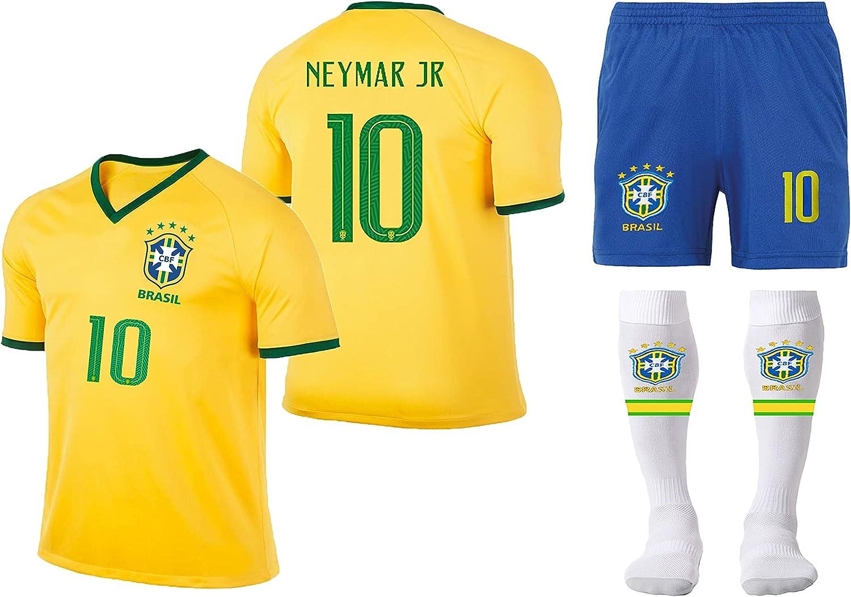 MUSSU Brazil Team Neymar #10 Soccer Jersey-Brasil Short Sleeve Jersey Youth & Kids Sizes for (5-13 Years Old)