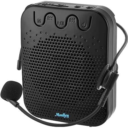 Moukey Mini amplificador de voz portátil recargable con micrófono con cable y cintura, soporta audio de formato MP3 para profesores, cantar, entrenadores, entrenamiento, presentación, guía turística