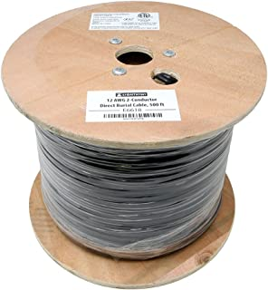 Lightkiwi E6618 12AWG 2-Conductor 12/2 Direct Burial Wire for Low Voltage Landscape Lighting, 500ft
