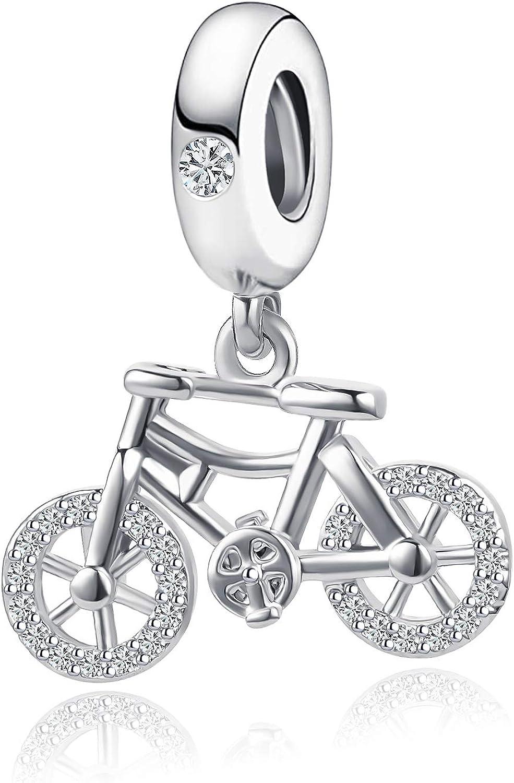 QeenseKc Love Bicycle Bike Dangle Charm Rainbow Crystal Sport Fan Bead for Pandora Bracelet