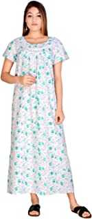 Apratim Cotton Woman Casual/Home Dress Nightwear/Sleepwear White Color Gown Size -Free Size