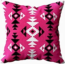 TOMKEY Throw Pillow Covers, Hidden Zippered 16X16Inch Geometric Pattern in Ethnic Style Decor Throw Cotton Pillow Case Cushion Cover for Home Decor