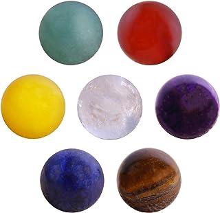 Morella Set con 7 sfere con pietre preziose gemme minerali 16 mm per collana con ciondolo in un sacchetto di velluto