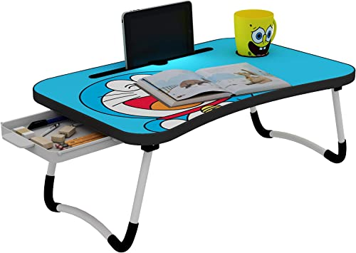 Callas Multipurpose Foldable Doraemon Print Laptop Table with Cup Holder and Drawer Study Table Breakfast Table Foldable and Portable Ergonomic Rounded Edges Non Slip Legs CA025 Doreamon