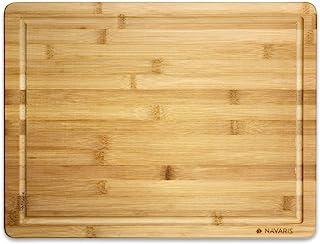 Navaris Planche à Découper en Bambou - Planche Découpe 45 x 34 x 1,8cm Viande Pain Poisson Fruits Légumes Fromage - Ustens...