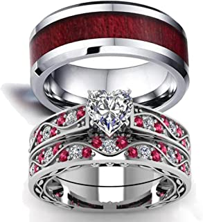 Couple Ring Bridal Set His Hers White Gold Filled Heart cz Wedding Ring Band Set