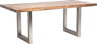 Kare Design Pure Nature Table de Salle à Manger avec Bords en Bois d'acacia Massif et Pieds en métal Mat 76 x 195 x 100 cm