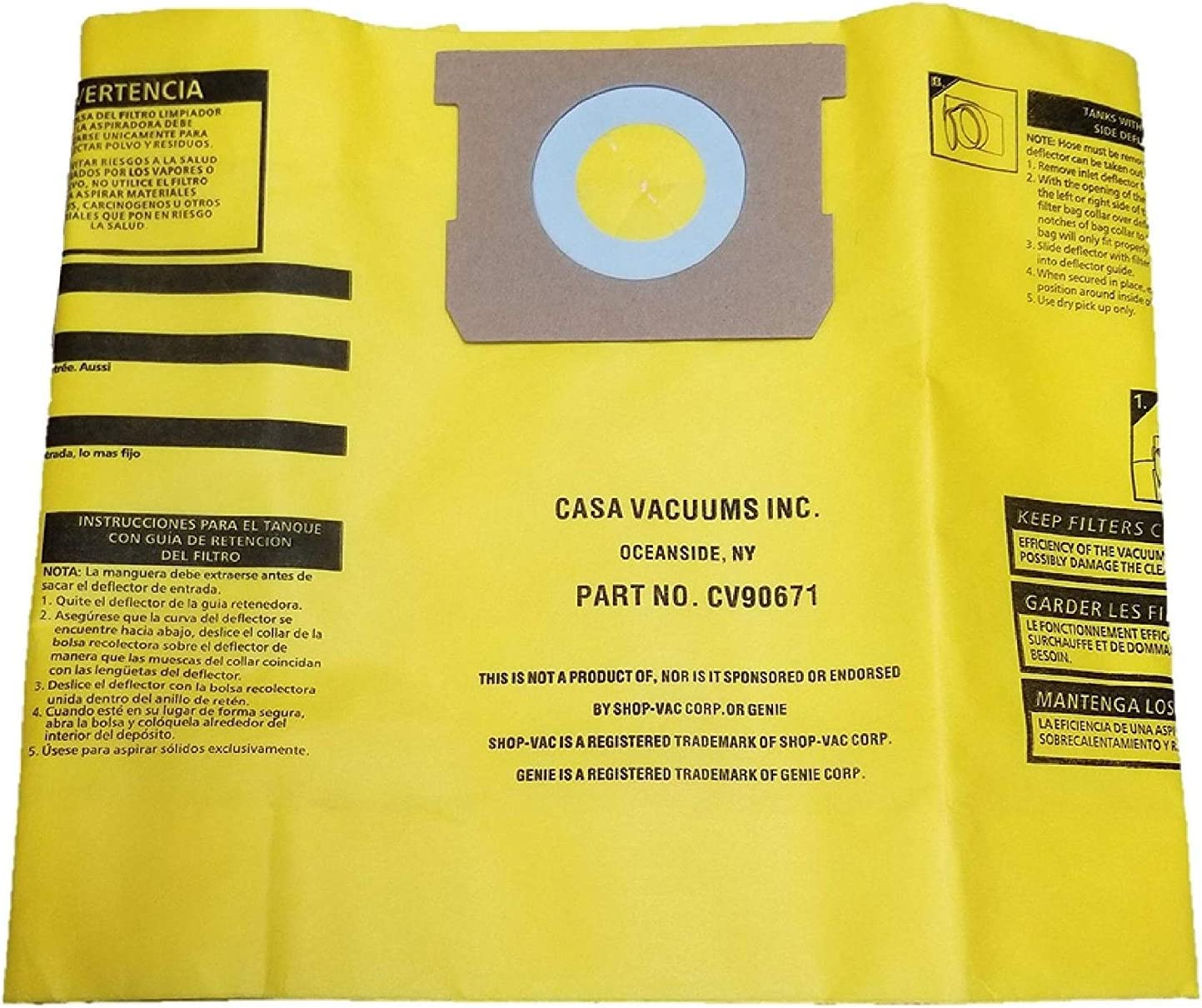 CASA VACUUMS replacement 25% Rapid rise OFF for Shop-Vac HIGH Gallon 5-8 EFFICIENCY