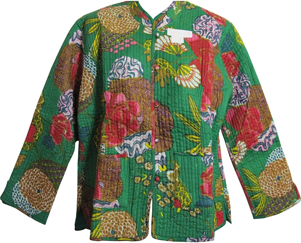 Reversible Missy Floral Quilted Cotton Outerwear Jacket Cardigan Blouse JK No2