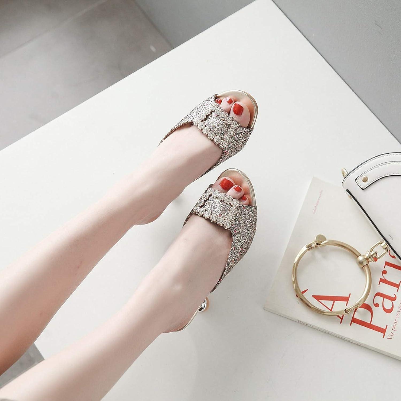 Womens Glitter Rhinestone Buckle Slide Mules Ladies Sexy Low Kitten Heel Peep Toe Dress Sandals
