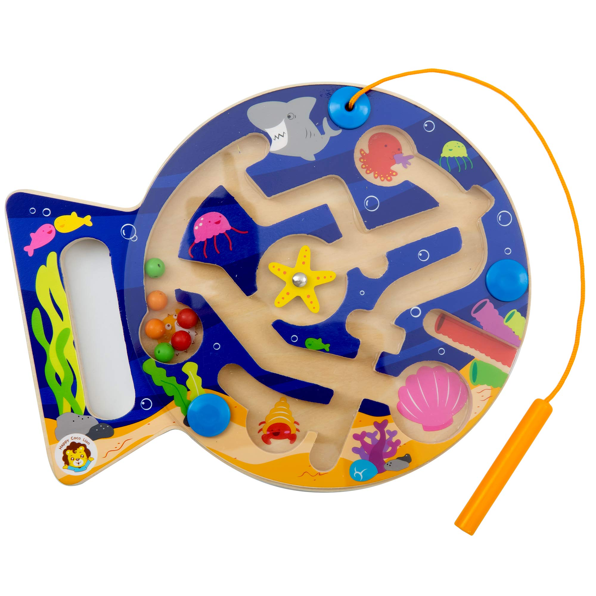 Happy Cocolion Maze Magnetic Puzzle Game, Wooden Maze Magnetic Learning & Education Toys with Marine Animals, Fine Motor Skills Toys for Toddler