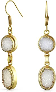 Boho Round Oval Organic White Druzy Agate Gemstone Dangle Drop Fashion Earrings For Women For Teen 14K Gold Plated Brass
